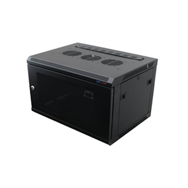 Wall Mount Rack Enclosure 6U 450mm/17.72 Inch Deep 1032 Rack Rail Black Perforated Door R6406V-1032
