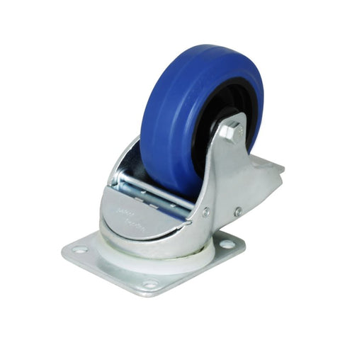 "Braked Automatic Swivel Castor with 100mm/4"" Narrow Blue Wheel W0985"