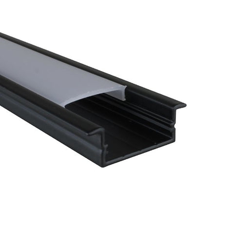 1m Black Kit for 20.6mm Recessed Aluminium Profile LEDAL20B