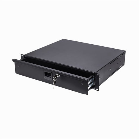"2U Aluminium Rack Drawer Black 387mm / 15.25"" Deep R2294"