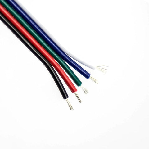 5 Core Flat 22AWG Bck/Red/Gr/Blue/Wh Stranded Copper CA5F22