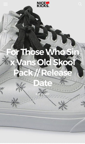 Official FOR THOSE WHO SIN x VANS Shoe Pack Featured on