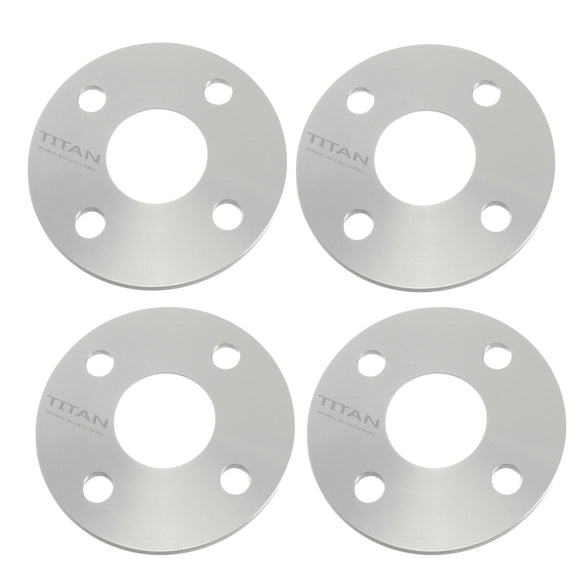 4pcs 3mm 4x100 Hubcentric (57.1mm Hub) Wheel Spacers | Fits Audi BMW VW 4 lug | Titan Wheel Accessories