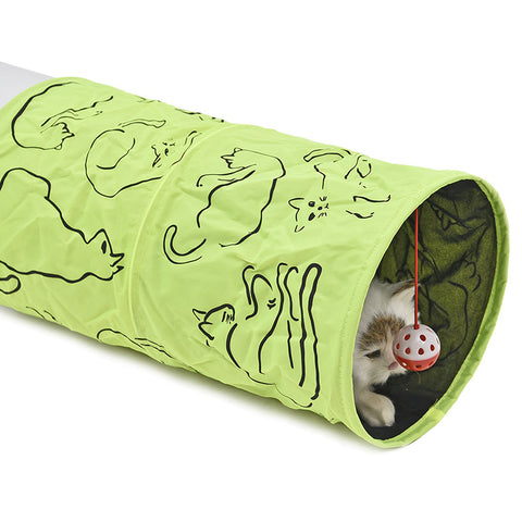 Cat printed green Tunnel with toy ball
