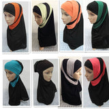 Mixed Colors 2 Pieces Amira Hijab Muslim Hijab Islamic Scarf Polyester