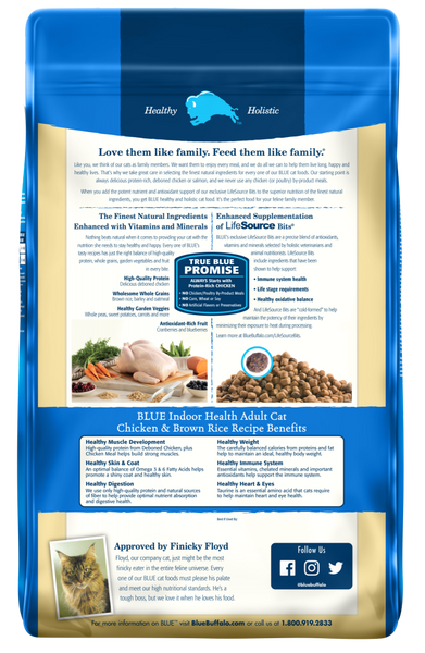 Blue Buffalo BLUE Indoor Health Chicken and Brown Rice Recipe Dry Cat Food
