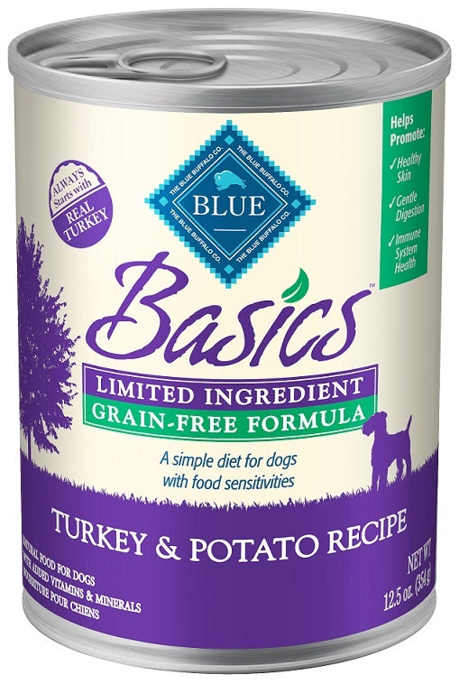 Blue Buffalo BLUE Basics Grain Free LID Turkey and Potato Recipe Adult Canned Dog Food