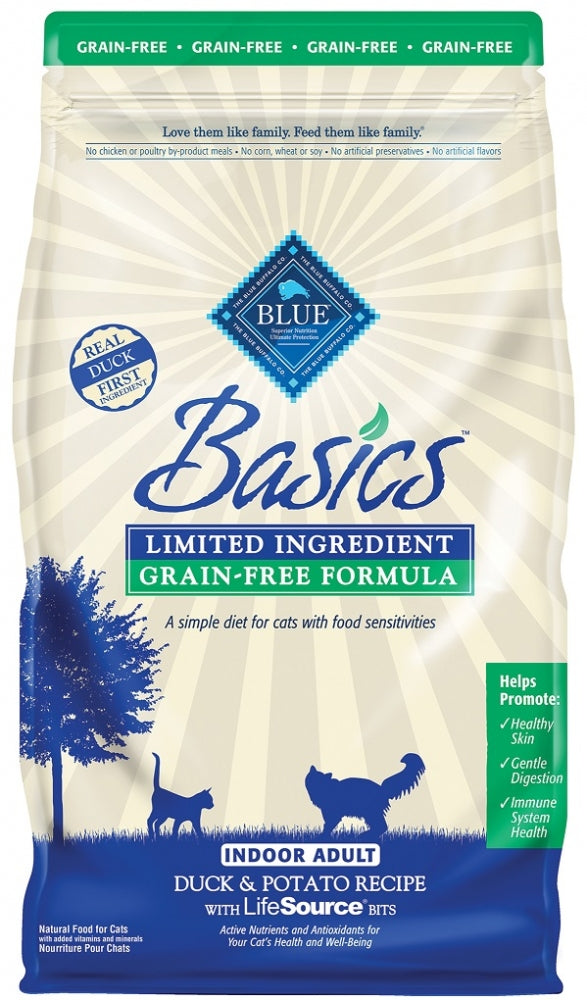 Blue Buffalo BLUE Basics Grain Free Adult Indoor Duck and Potato Recipe Dry Cat Food