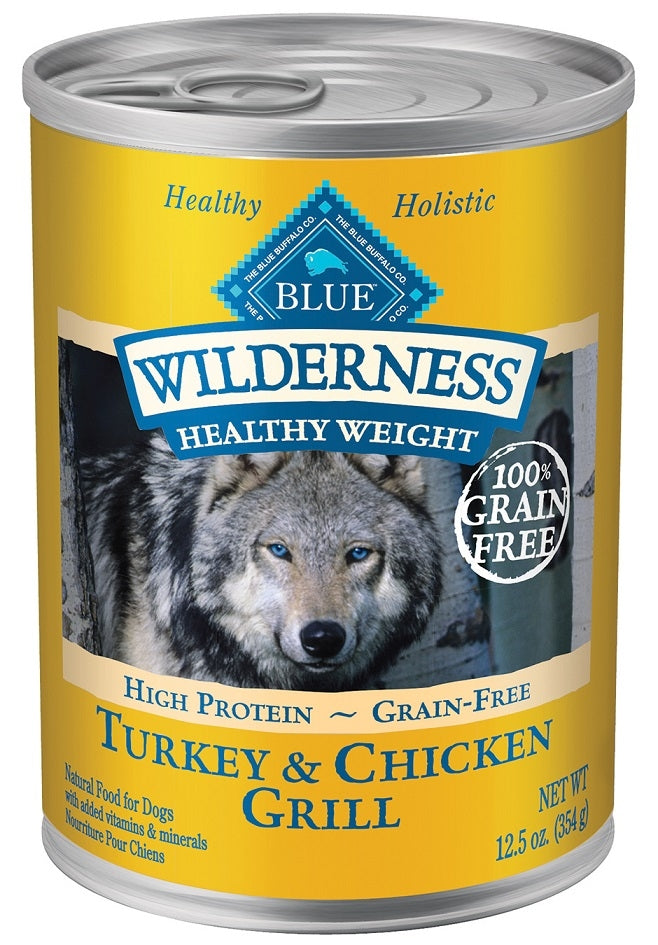 Blue Buffalo BLUE Wilderness Healthy Weight Grain Free Turkey and Chicken Grill Adult Canned Dog Food