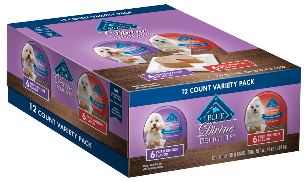 Blue Buffalo Divine Delights Small Breed Filet Mignon and Porterhouse Pate Variety Pack Dog Food Cup