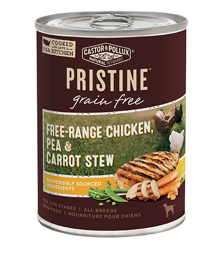 Castor and Pollux Pristine Grain-Free Free-Range Chicken, Pea & Carrot Stew Canned Dog Food