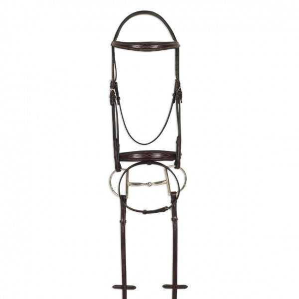Ovation® ATS Square Raised Taper Nose Fancy Stitch Bridle with Flash