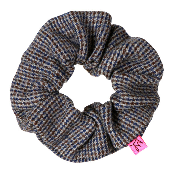 Grey Check Wool Hair Scrunchie - Scrunchy Queen
