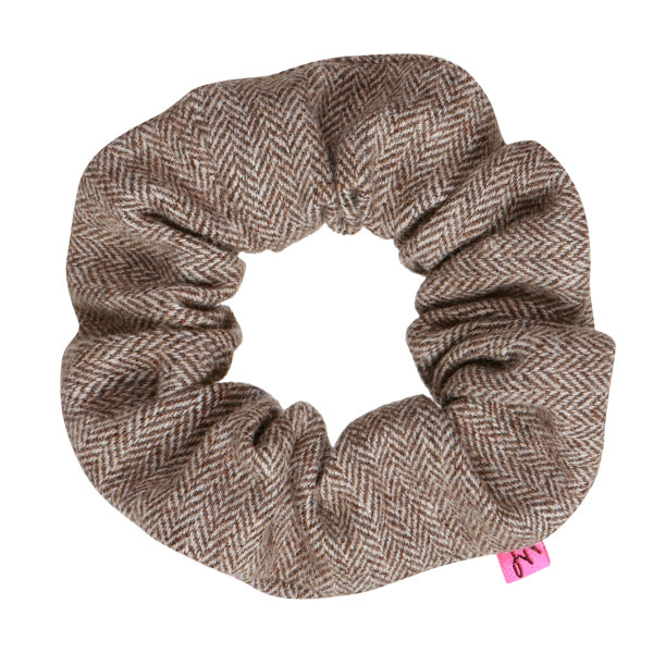 Brown Tweed Wool Hair Scrunchie - Scrunchy Queen