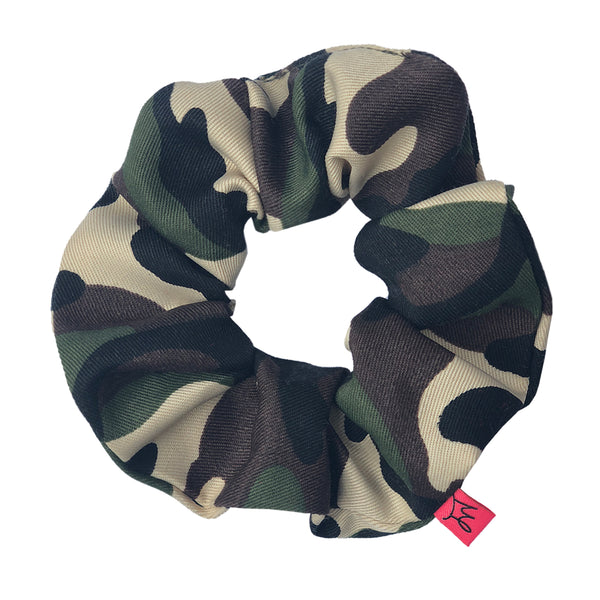 Army Green Camo Print Hair Scrunchie - Scrunchy Queen