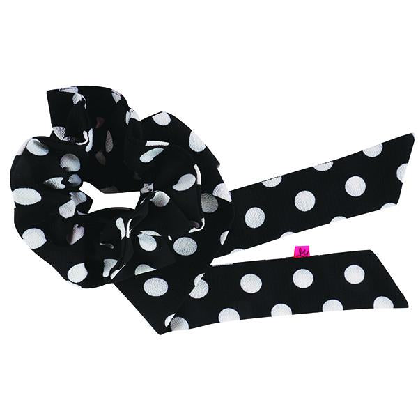 Scrunchy Queen Black and White Polka Dot Hair Scrunchie Scarf