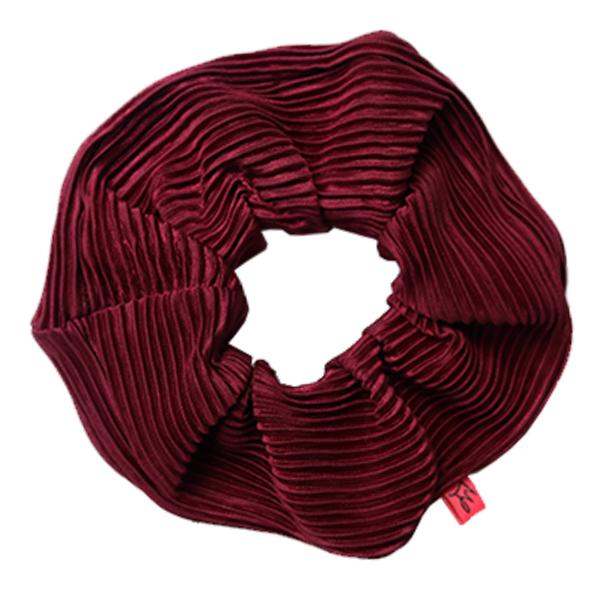 Burgundy Plisse Hair Scrunchie - Scrunchy Queen