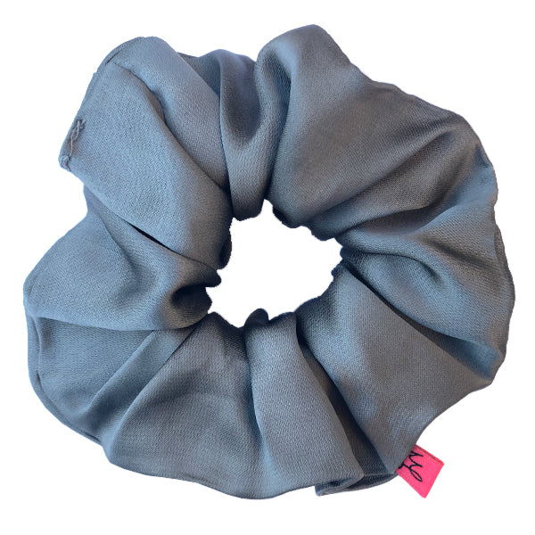 Grey Satin Hair Scrunchie - Scrunchy Queen