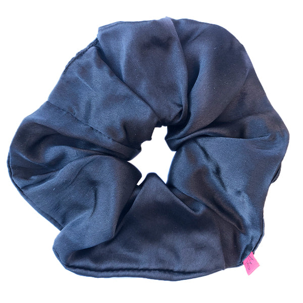 Large Black Silk Hair Scrunchie
