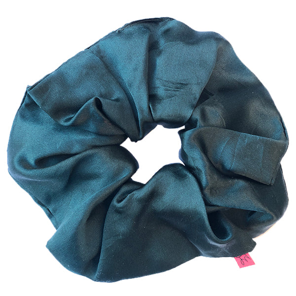 Large Dark Green Silk Hair Scrunchie - Scrunchy Queen