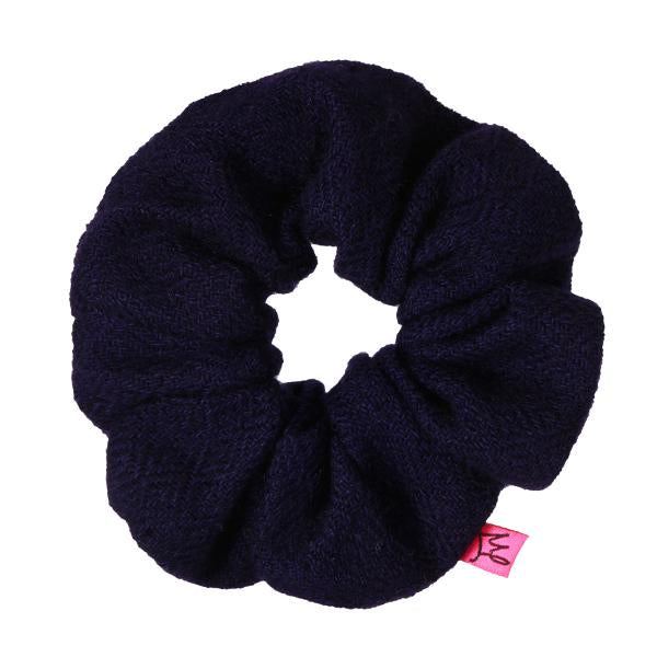 Navy Blue Cashmere Hair Scrunchie - Scrunchy Queen