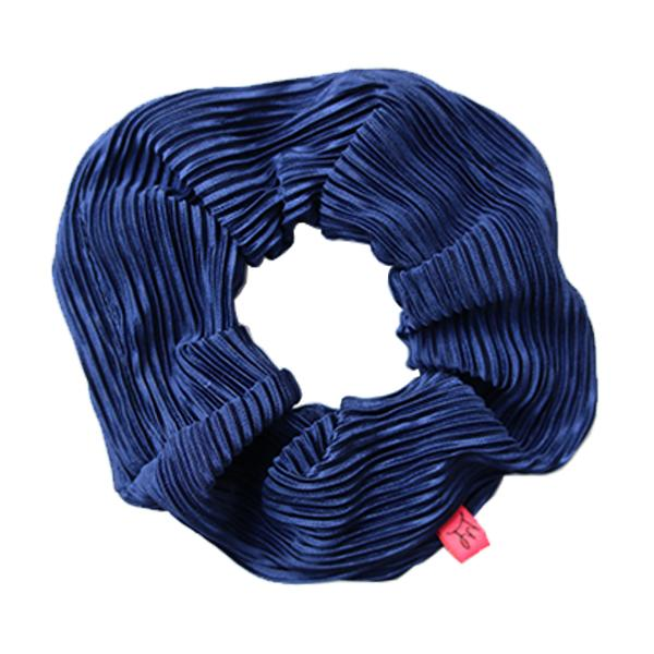 Navy Plisse Hair Scrunchie - Scrunchy Queen