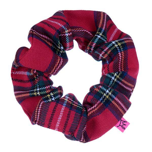 Red Tartan Check Hair Scrunchie - Scrunchy Queen