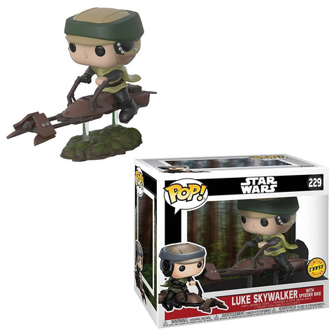 Star Wars Luke on Speeder Bike Deluxe Pop! Vinyl Bobble Head #229 - Chase Edition