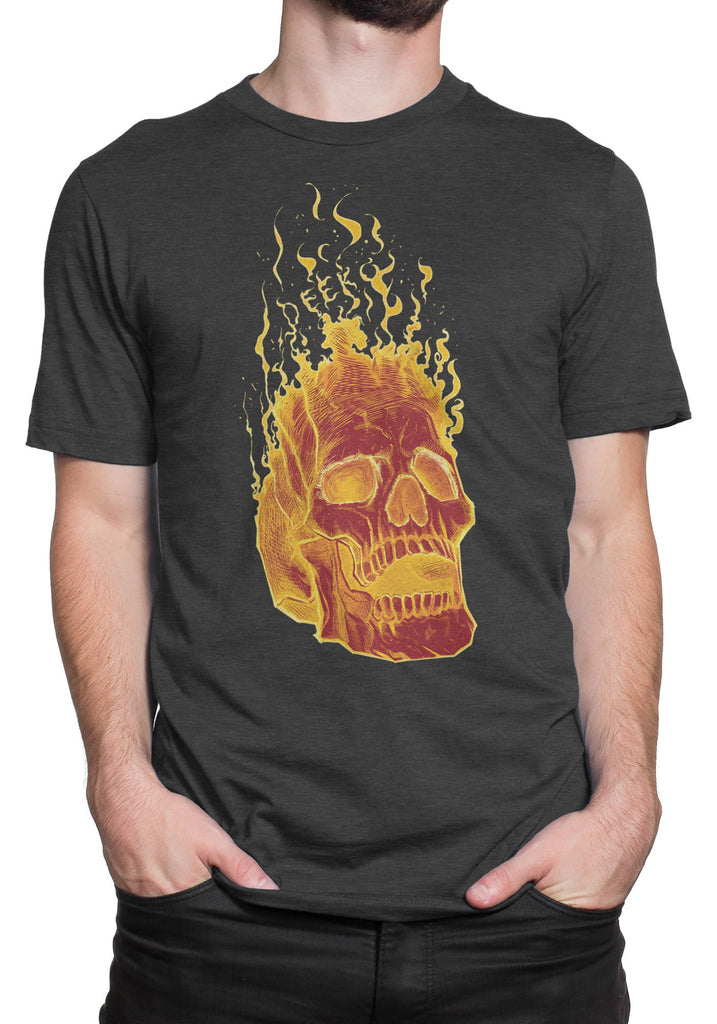 Charcoal Flame Skull T-Shirt