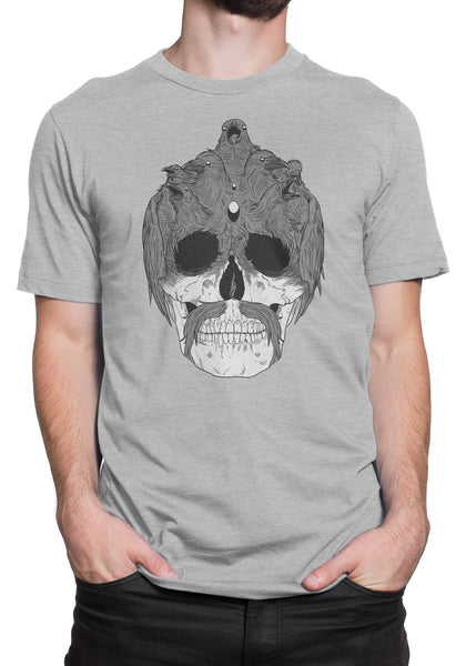 Light Gray Raven Skull T-Shirt