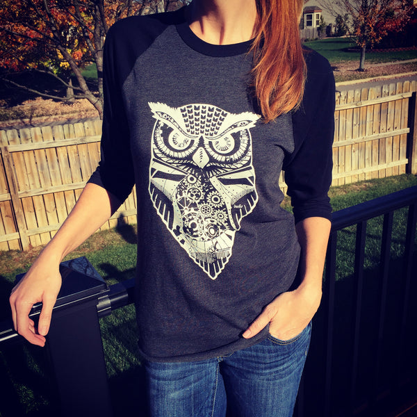 Eldwin the Owl 3/4 Sleeve Raglan Shirt - White on Black