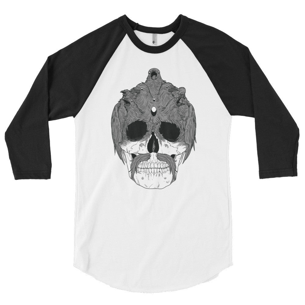 Sam the Raven Skull 3/4 Sleeve Raglan Shirt - Deeko