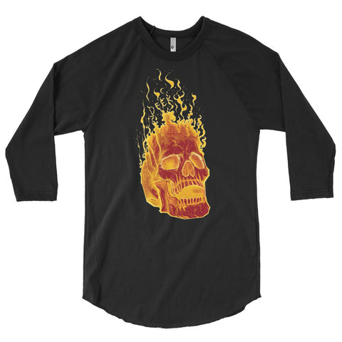 Charon the Flaming Skull 3/4 Sleeve Raglan Shirt