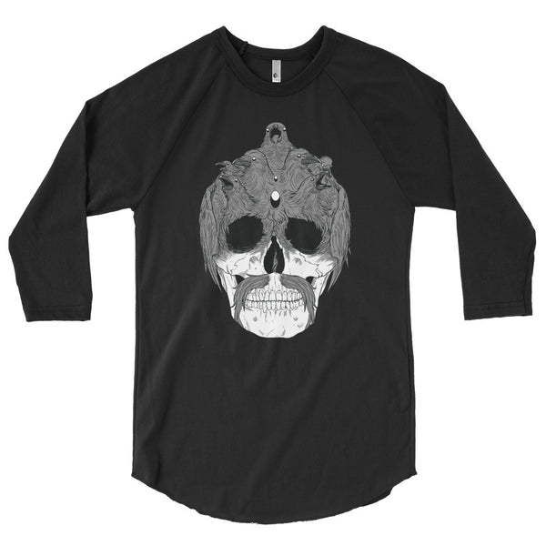 Sam the Raven Skull 3/4 Sleeve Raglan Shirt