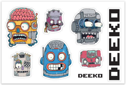 "Deeko Robots Sticker Sheet - 4"" x 6"" - Deeko"
