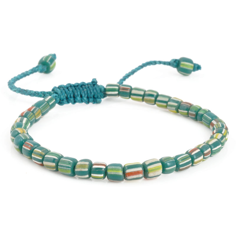 Beach Glass Bracelet-Teal Green Stripe-Adjustable