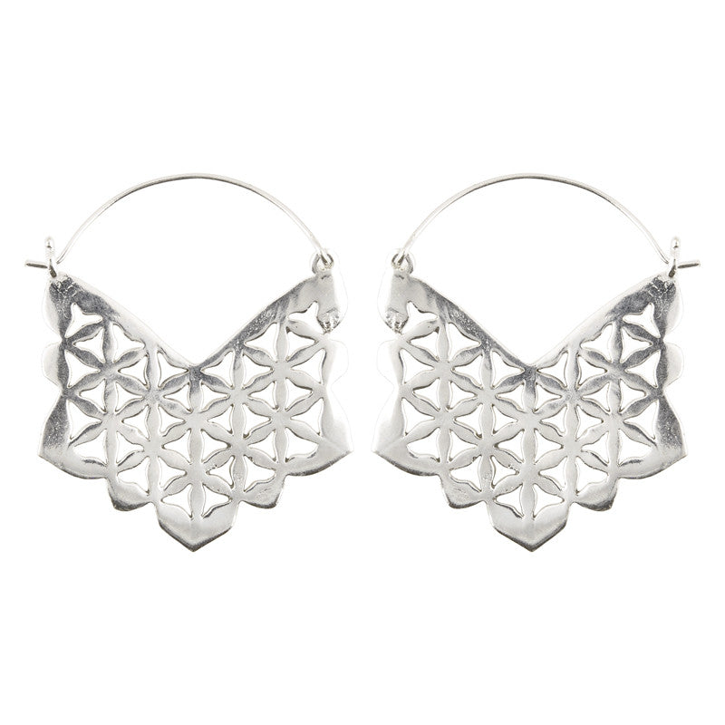 Simple-Brass Intricate Cutout Earrings-Silver-One Pair