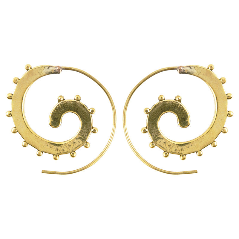 Simple-Brass Studded Spiral Earrings-One Pair