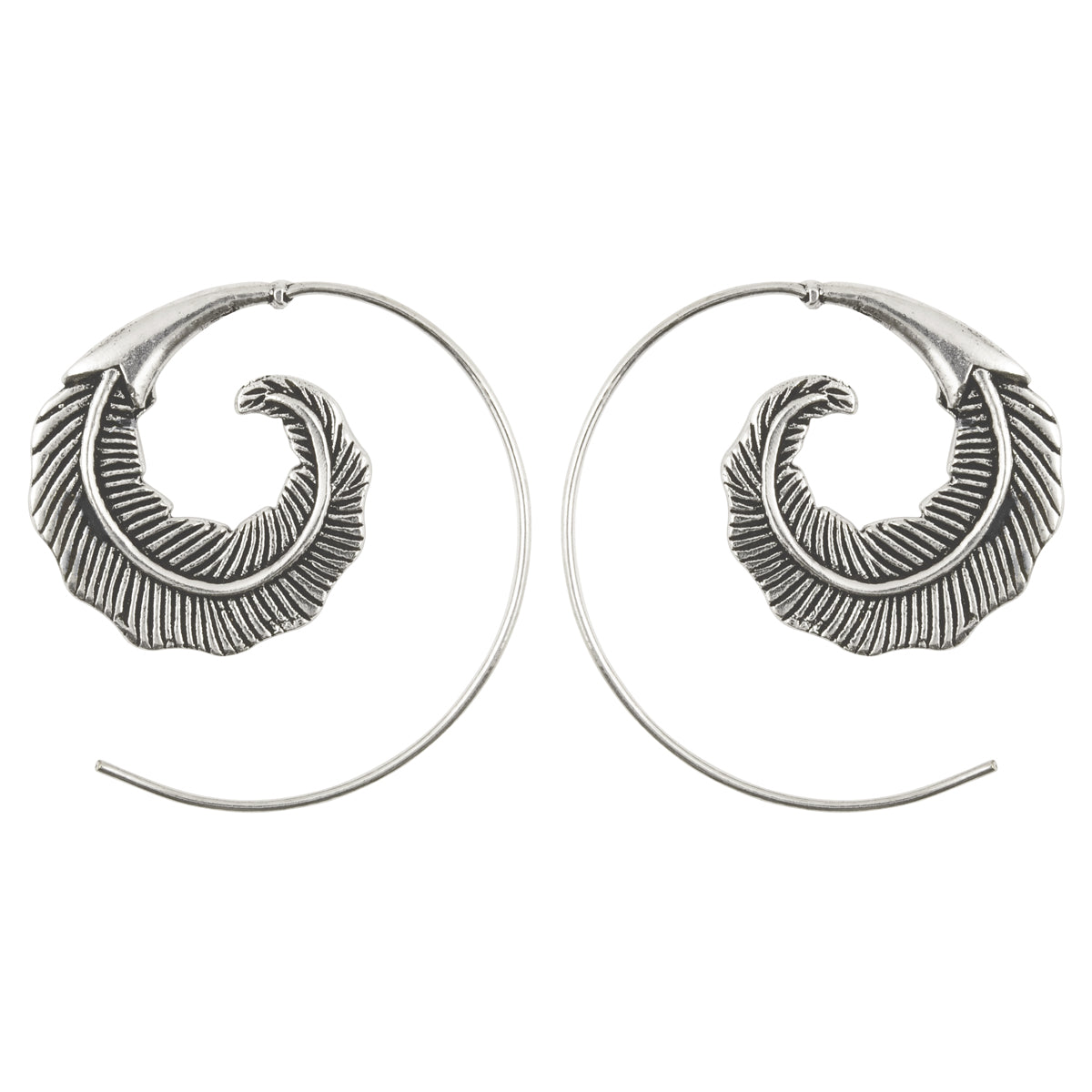 Simple-Brass Feather Spiral Earrings-Silver-One Pair