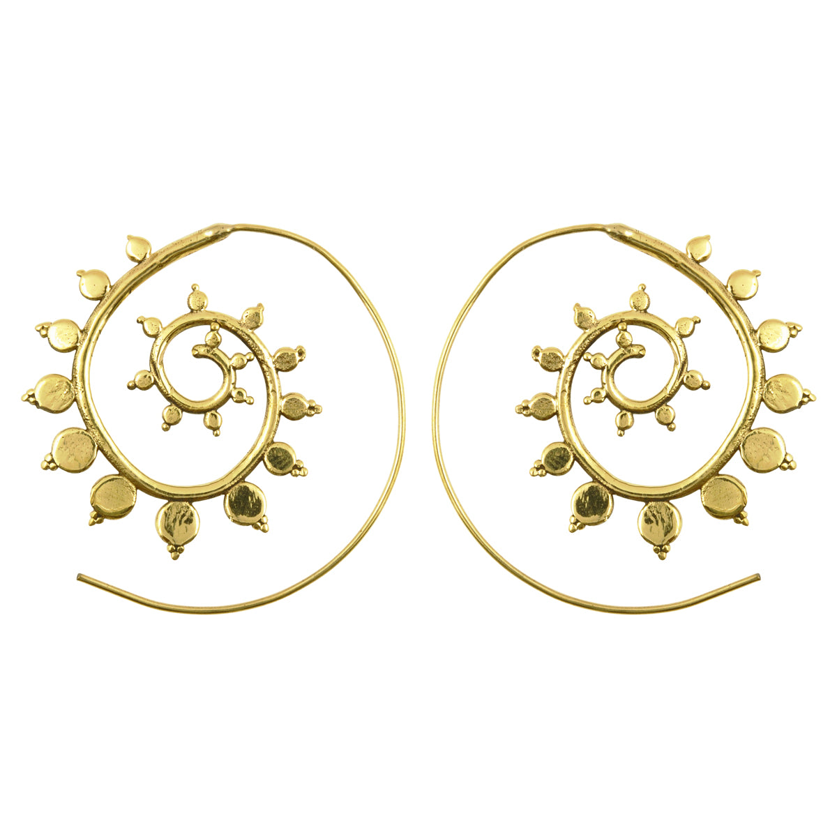 Simple-Brass Cordate Spiral Earrings-Gold-One Pair Camilla Blue
