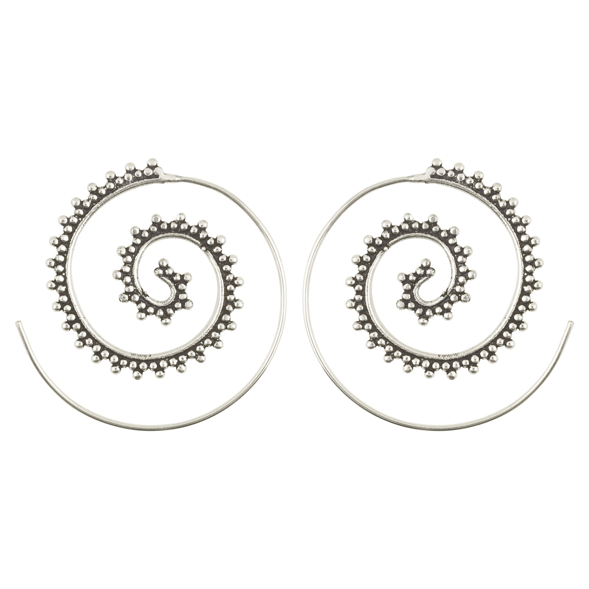 Simple-Brass Granular Dotted Spiral Earrings-Antique Silver-One Pair Camilla Blue