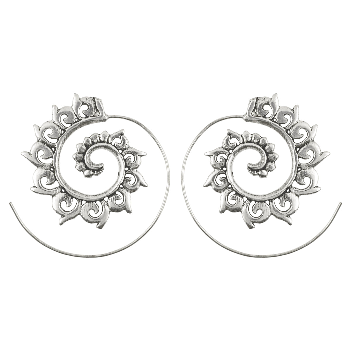 Simple-Brass Ornate Flared Cordate Spiral Earrings-Antique Silver-One Pair