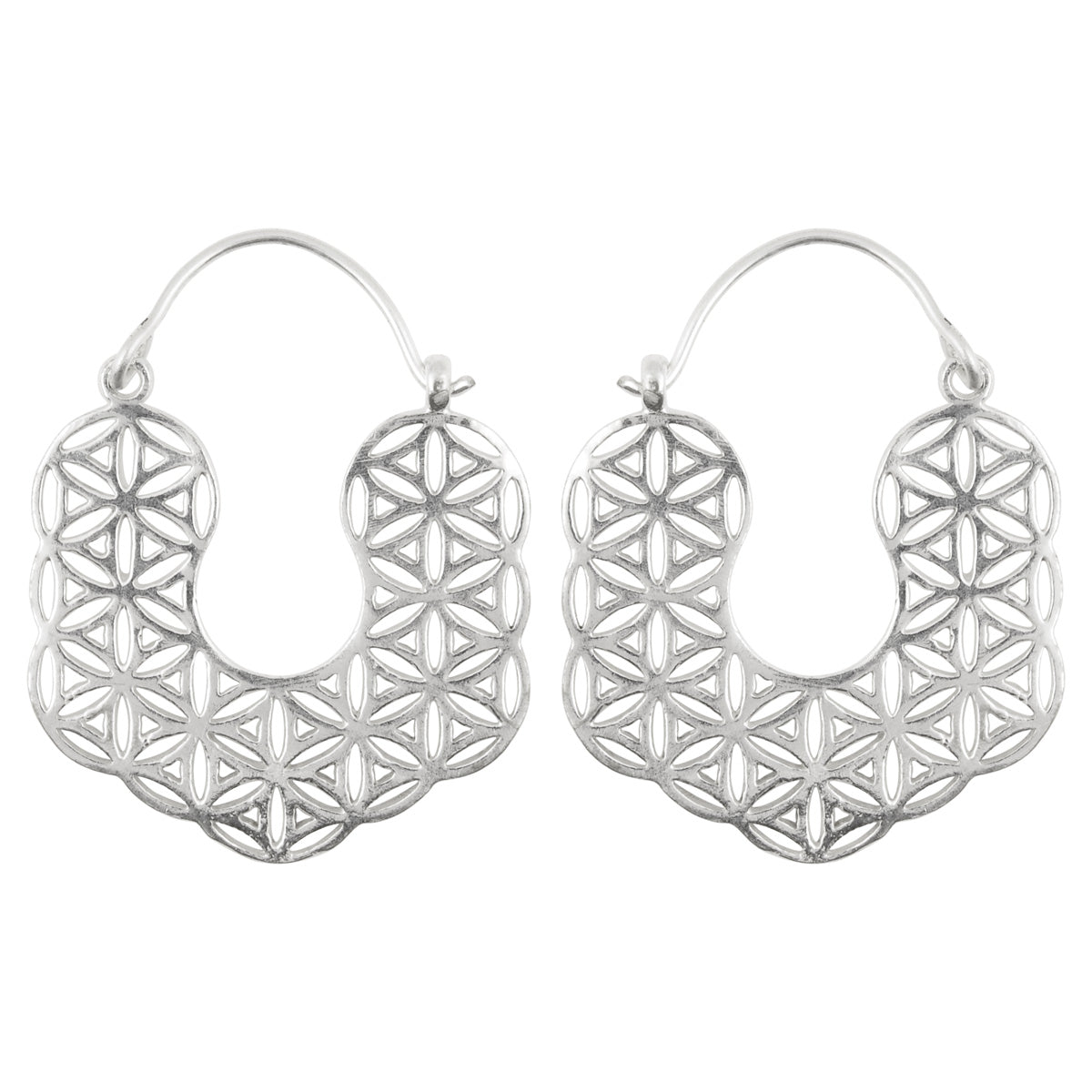 Simple-Brass Tiny Intricate Cutout Earrings-Silver-One Pair