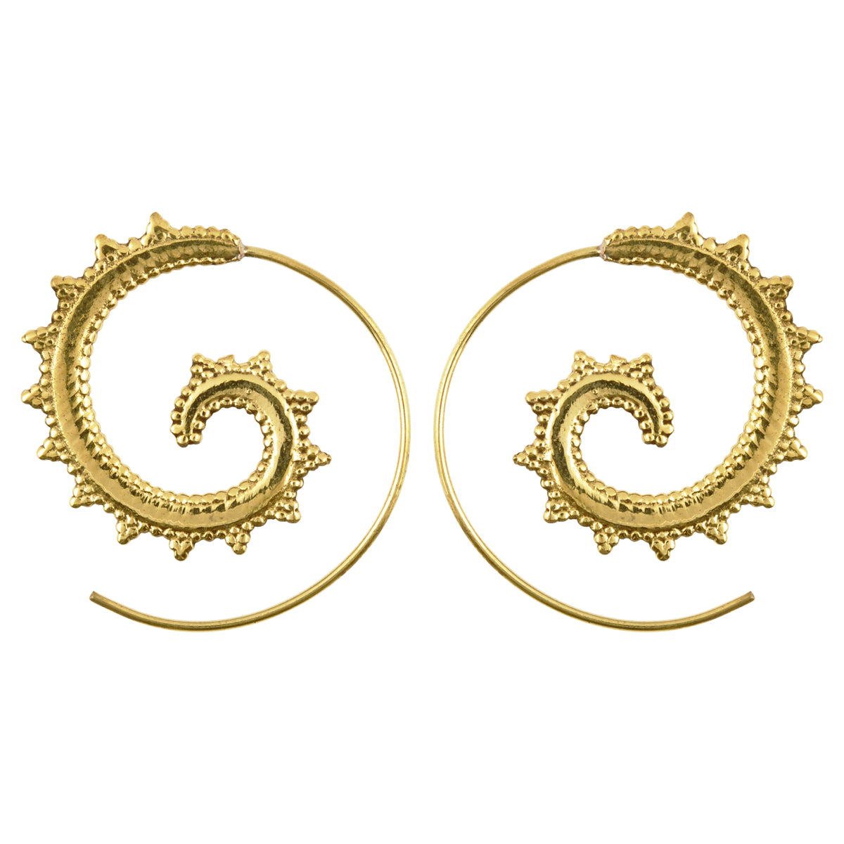 Simple-Brass Victorian Gold Spiral Earrings-One Pair Camilla Blue