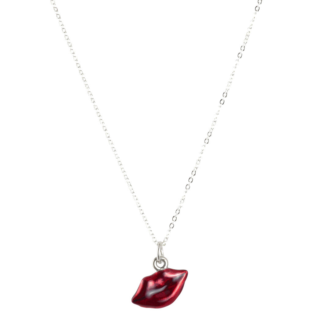 Red Lips Hand Painted Silver Charm Necklace Handmade Jewelry Focal Camilla Blue