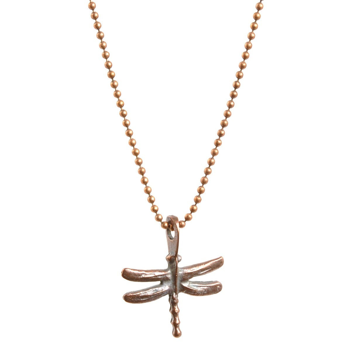 Simple-Antique Copper Dragonfly Ball Chain Necklace