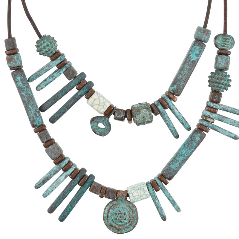 Modern Metal Leather Necklace