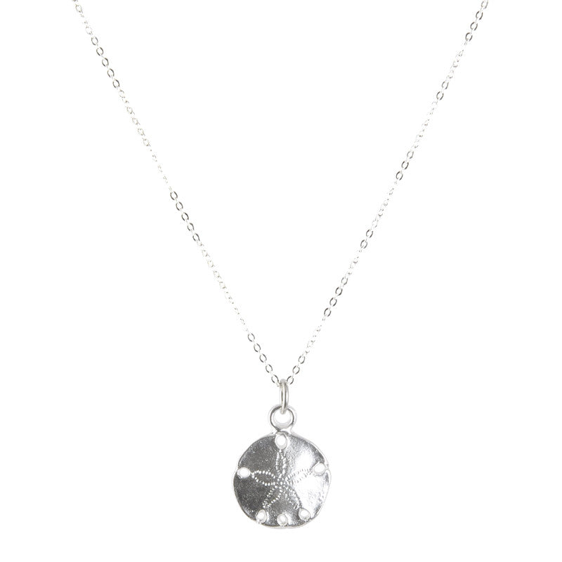 Sand Dollar Silver Charm Necklace Handmade Jewelry Focal Camilla Blue