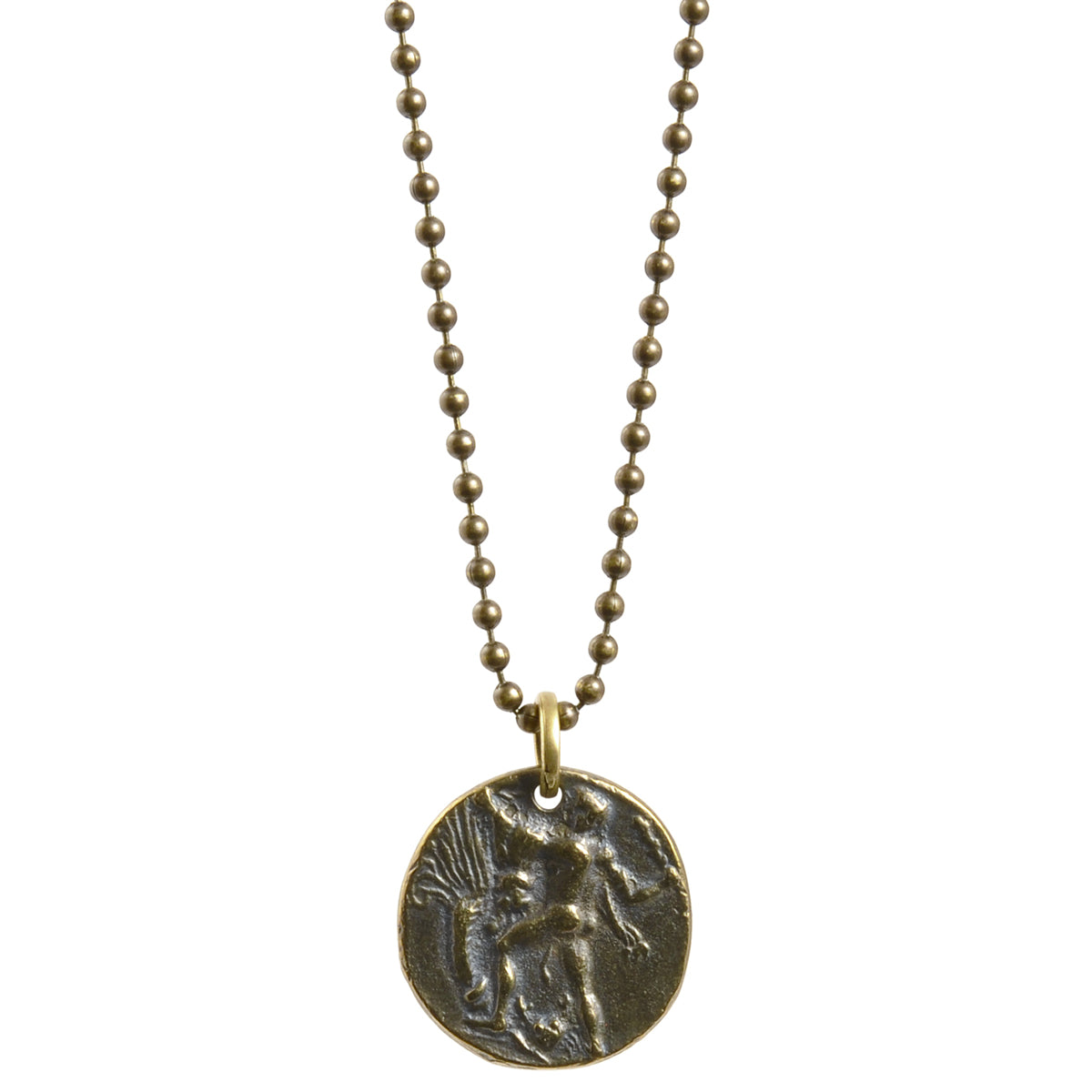 Simple-Antique Bronze Greek Coin Ball Chain Necklace-30 Inches Camilla Blue