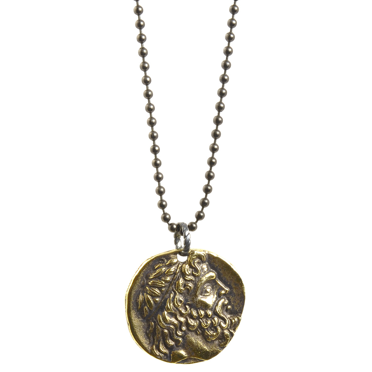 Simple-Antique Gold Greek Coin Ball Chain Necklace-30 Inches Camilla Blue